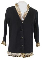 Black Jacket with Leopard Print Ruffles