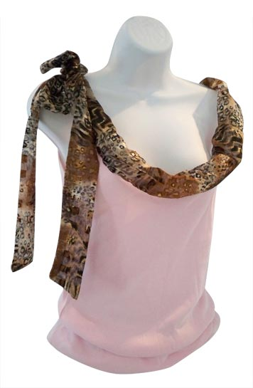 Pink Tank Top with Earth Tone Print Neckline