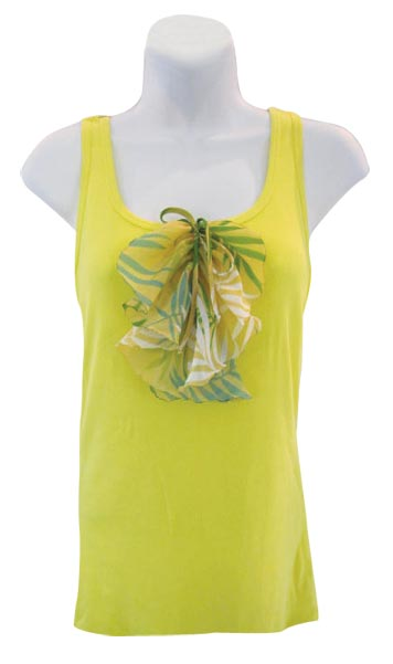 Yellow Green Top with Ruffle Embellishment