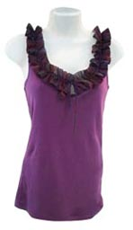 Purple Top with Ruffled Neckline